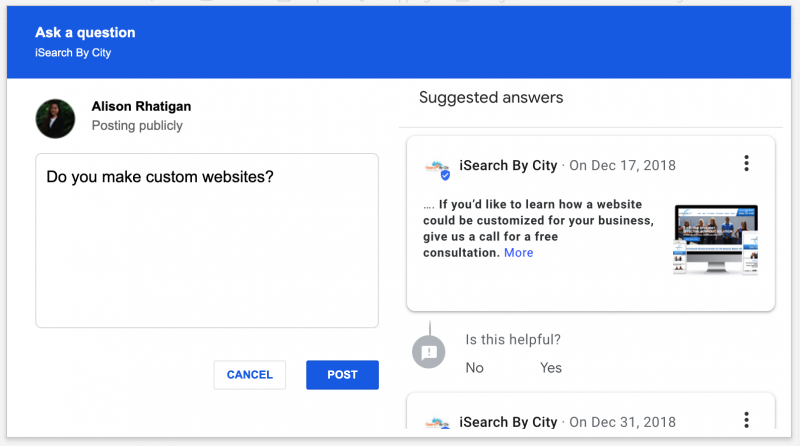 Google My Business Listings Use Reviews & Past Posts to Answer