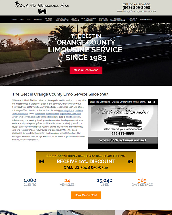 Black Tie Limousine Website