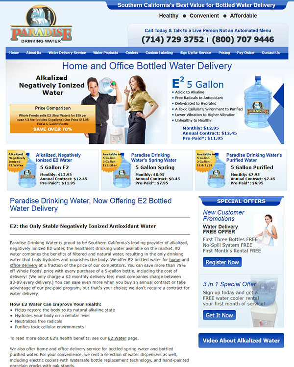 E2 Bottled Water Delivery Orange County