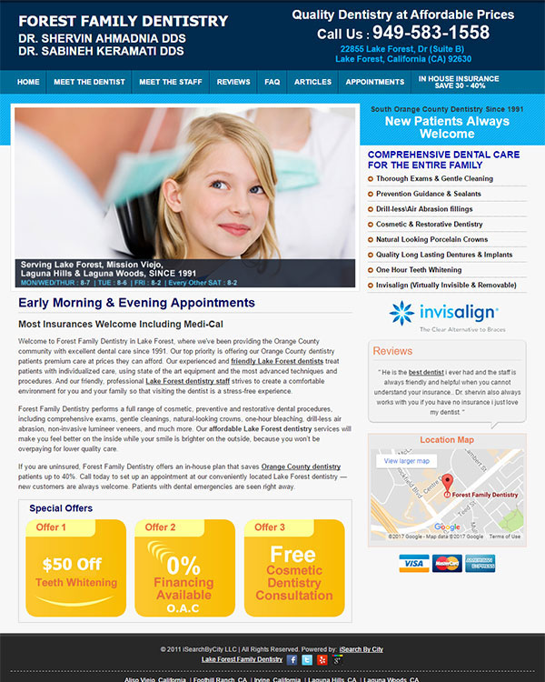 Family Dentistry Website Optimization