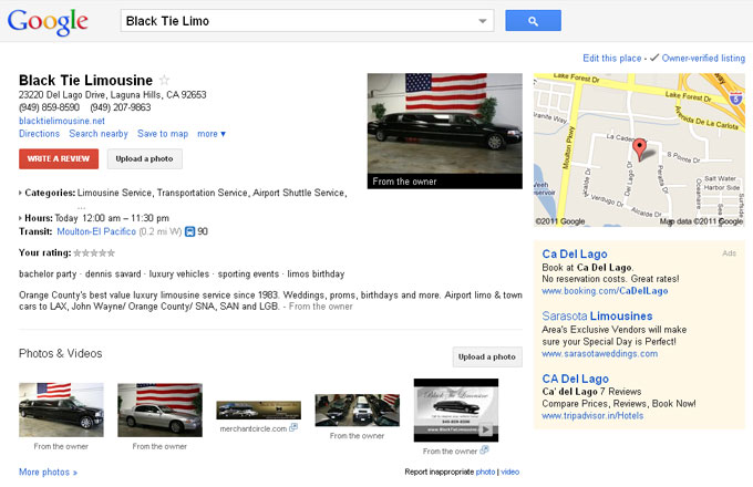 Highly Optimized Google Places Listing