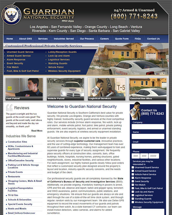 LA Security Guard Company Website
