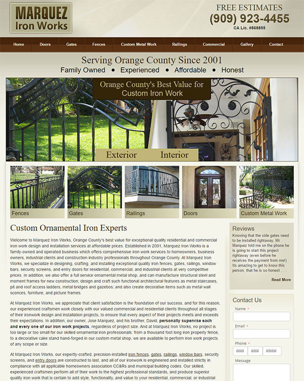 Optimized Website - Marquez Iron Works