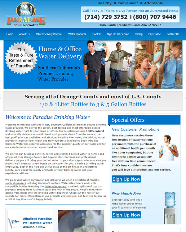 Paradise Drinking Water Website