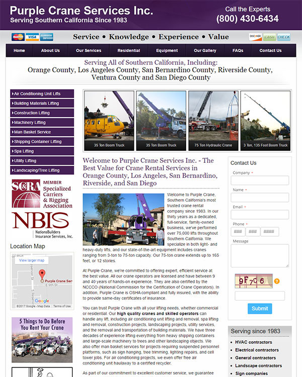 Purple Crane Services Website
