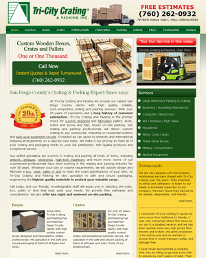 Tricity Crating Optimized Website